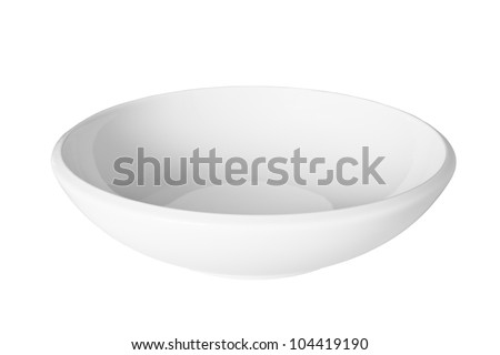 White porcelain pasta or soup bowl, isolated on white with clipping path provided. - stock photo