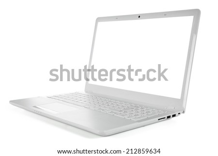 White portable computer with clipping path. Side view. Clipping Path for the Laptop and screen. - stock photo