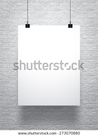 White poster on brick wall - stock photo