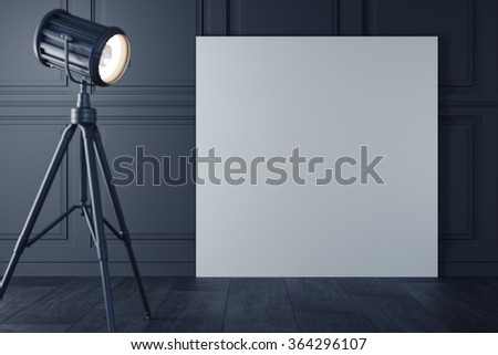 White poster with retro floor lamp with warm light, on classic wall template. 3d rendering