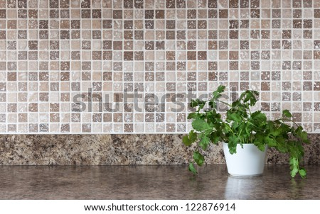 White pot with green herbs on kitchen countertop. - stock photo