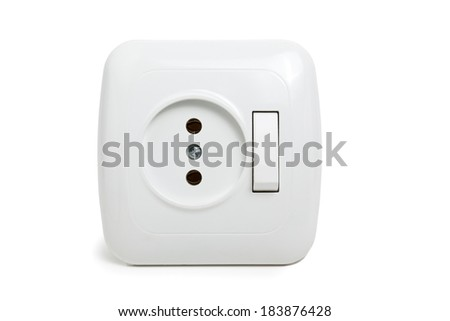 White Power Outlet, Wall Plug, Push Button