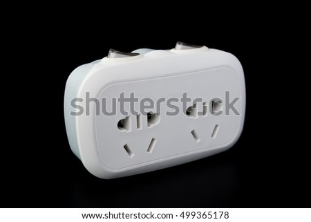 white power sockets with switiches on black background