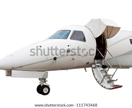 white private jet and open ladder isolated on a white background - stock photo