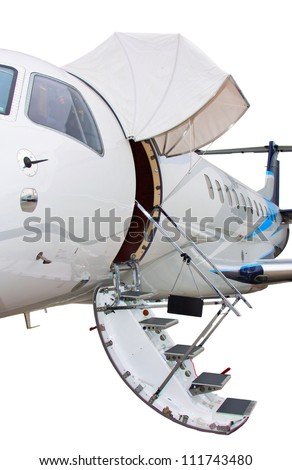 white private jet and open ladder jet isolated on a white background - stock photo