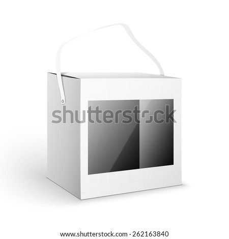 White Product Cardboard Package Box. Illustration Isolated On White Background. Mock Up Template Ready For Your Design. - stock photo