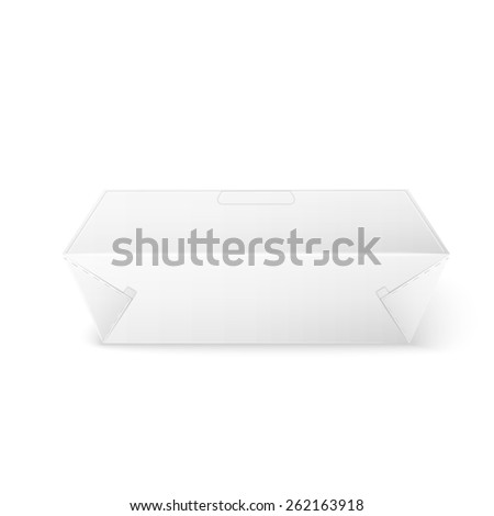 White Product Cardboard rectangular Package Box. Illustration Isolated On White Background. Mock Up Template Ready For Your Design.