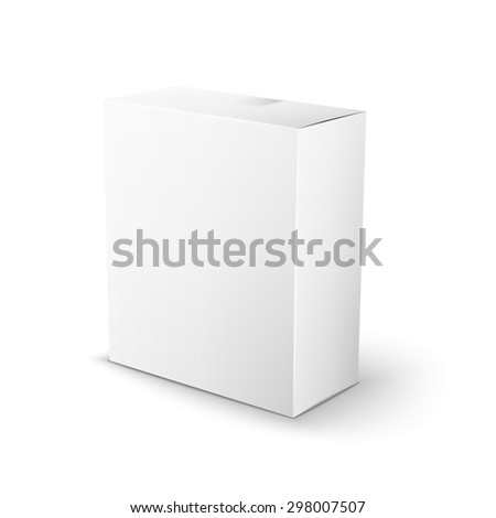 White Product Package Box. Illustration Isolated On White Background. Mock Up Template Ready For Your Design.