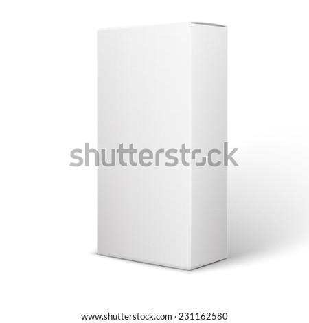 White Product Package Box Illustration Isolated On White Background. Product Packing   - stock photo