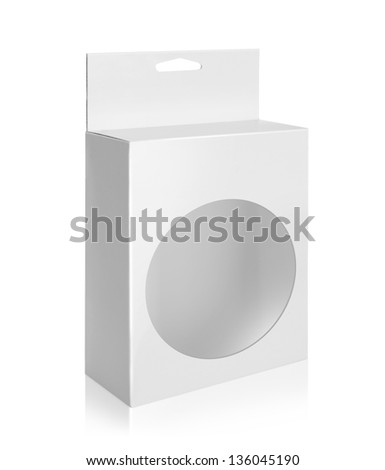 White Product Package Box With circle Window isolated over white background - stock photo