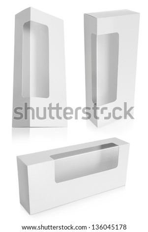 White Product Package Box With Window isolated over white background - stock photo