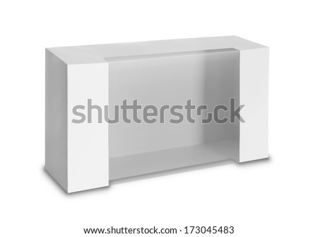 White Product Package Box With Window isolated over white background.