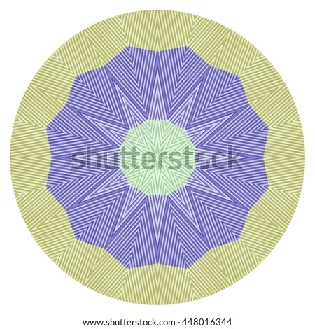 White purple blue green flower floral design kaleidoscope pattern design pretty oval circle orb pretty illustration  - stock photo