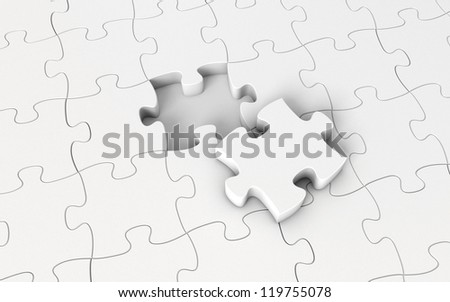 White puzzle. 3d render - stock photo