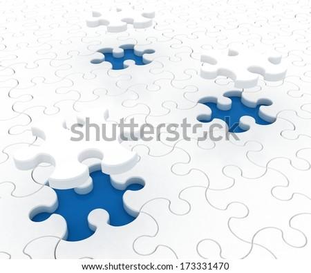 White puzzle on blue background. Isolated 3D image - stock photo