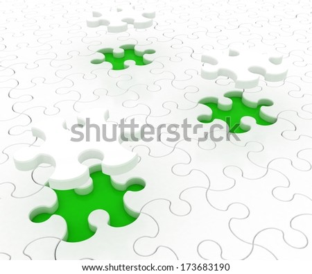 White puzzle on green background. Isolated 3D image - stock photo