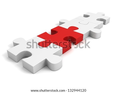 white puzzle pieces connected by one individual red - stock photo