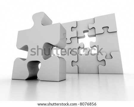 White puzzle with a missing piece - stock photo