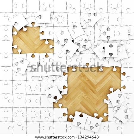 White Puzzle with Wooden Floor, Background - stock photo