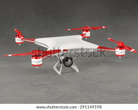 white quadcopter drone with reds rotor blades and HD camera on gray background - stock photo