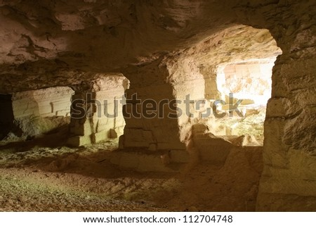 White quarry (Beli majdan on serbian) is old abandoned marl mine on Fruska gora mountain, Serbia. Image is good for background because it looks like Moria from Lord of the Rings - stock photo