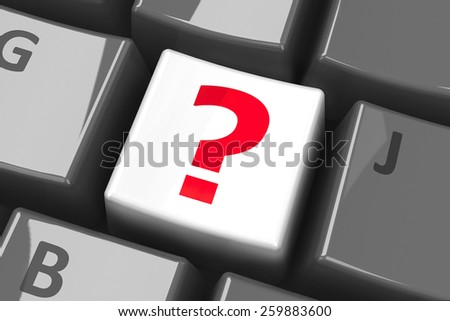 White question key on the computer keyboard, three-dimensional rendering - stock photo
