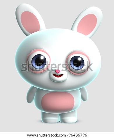 white rabbit - stock photo