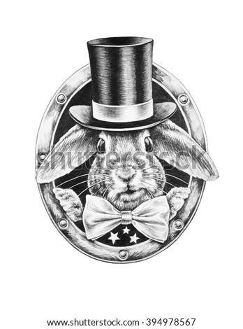 White Rabbit in a black hat and a bow tie. T-shirts design. Pencil illustration.