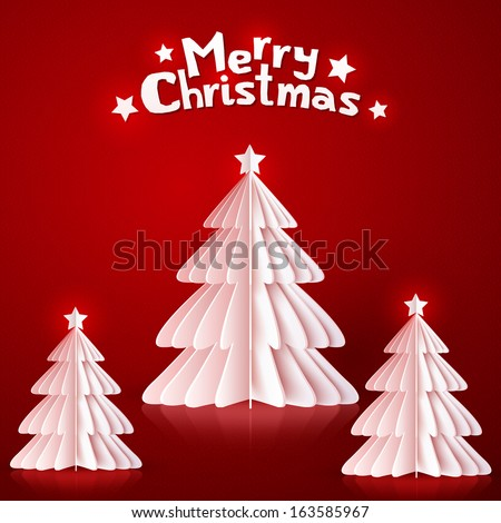 White realistic paper Christmas trees on red background