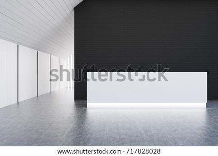 White reception table is standing in a white and black brick wall office lobby in an attic room. 3d rendering mock up