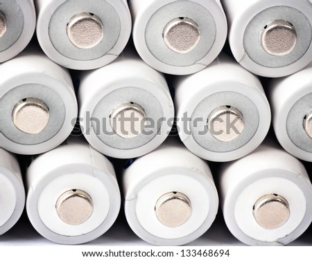 White rechargeable batteries - stock photo