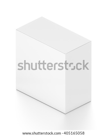 White rectangle blank box from isometric angle. 3D illustration isolated on white background.