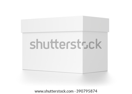 White rectangle blank box with cover isolated on white background. - stock photo