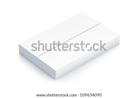 White rectangle box. High resolution 3D illustration with clipping paths. - stock photo