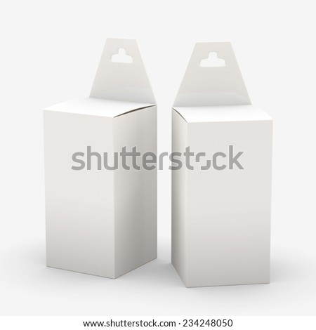 White rectangle paper  box packaging with hanger, clipping path included. Template package for variety product like ink cartridge, electronic or stationery. ready for Your Design and artwork .