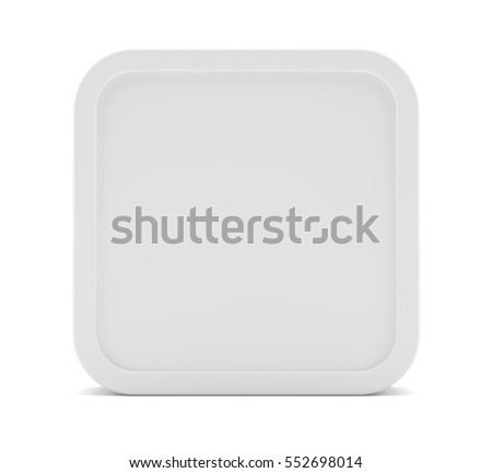 White rectangle with rounded corner, for your design. 3D illustration