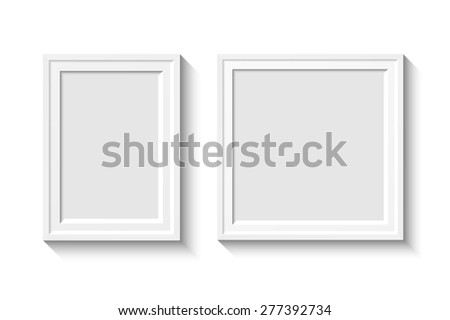 White rectangular photo frame with shadow on a wall.  illustration for your design - stock photo