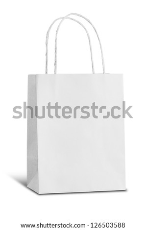 white recycle paper bag on white background - stock photo