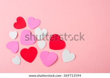 White, red and pink foam valentines day hearts - stock photo