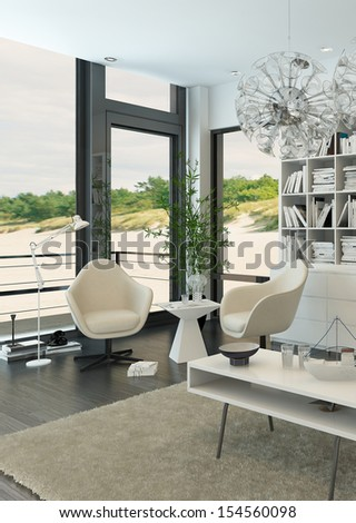 White relax chairs against windows with beach view - stock photo