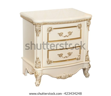White retro chest of drawers isolated on white background - stock photo