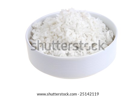 white rice in white bowl isolated - stock photo