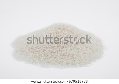 white rice, natural long rice grain for background and texture on white background