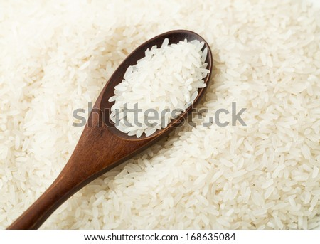 White rice on wooden spoon