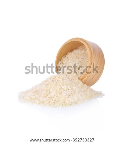 White rice with wooden bowl on white background