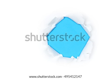 white ripped open paper with blue colored background and space for text