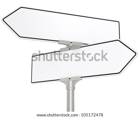 White Road signs. Blank directional road signs. White for Copy Space. Isolated. - stock photo