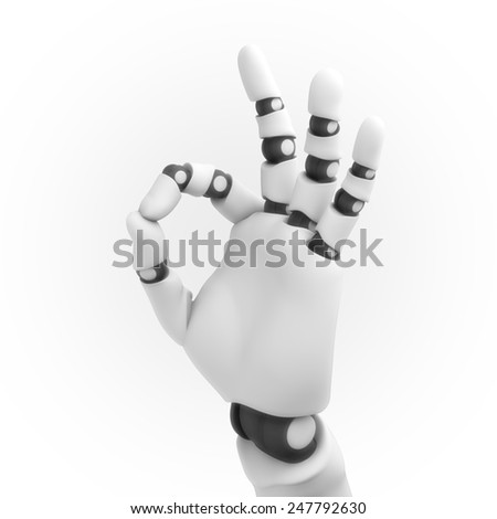 white robot hand - stock photo