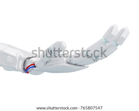 White robot hand in offer gesture. 3d rendering