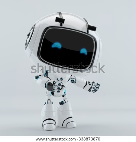 White robot with blue digital eyes gesturing